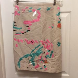 Tracy Reese Anthropologie Skirt 10 Beige Pink Teal